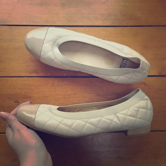 Stuart Weitzman Shoes - Stuart Weitzman Nude Captoe Patent Leather Flats